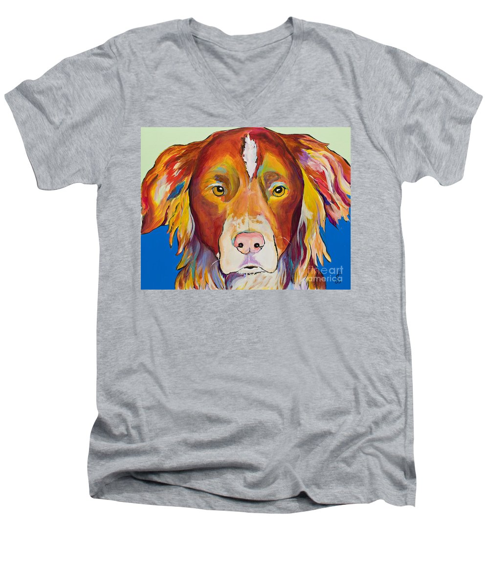 Australian Border Collie Men's V-Neck T-Shirt featuring the painting Keef by Pat Saunders-White