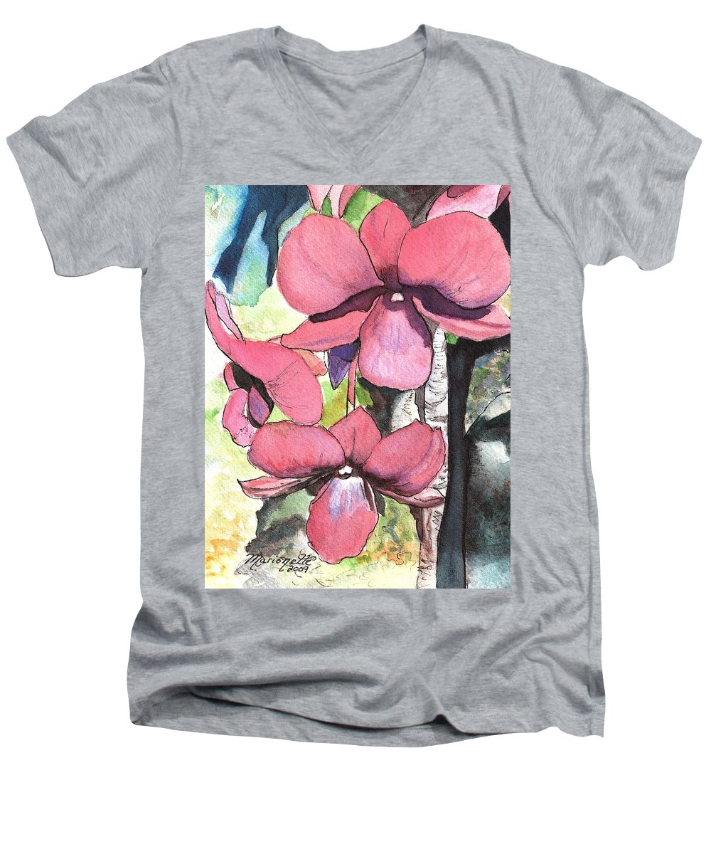 Orchid Men's V-Neck T-Shirt featuring the painting Kiahuna Orchids by Marionette Taboniar