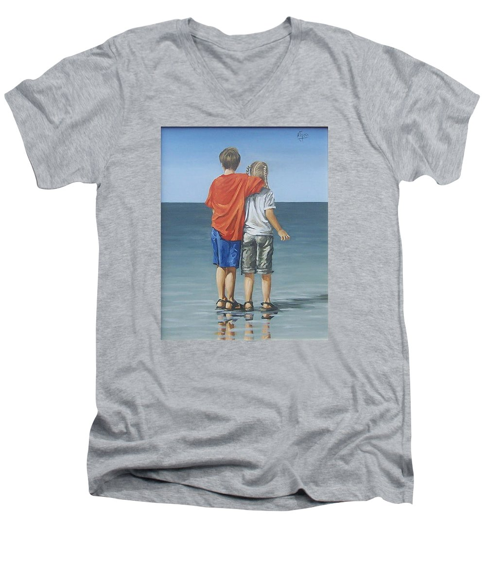 Kids Men's V-Neck T-Shirt featuring the painting Kids by Natalia Tejera