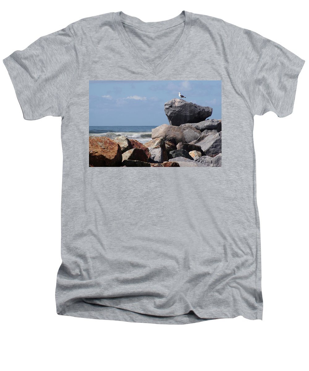 Beach Men's V-Neck T-Shirt featuring the photograph King Of The Rocks by Margie Wildblood