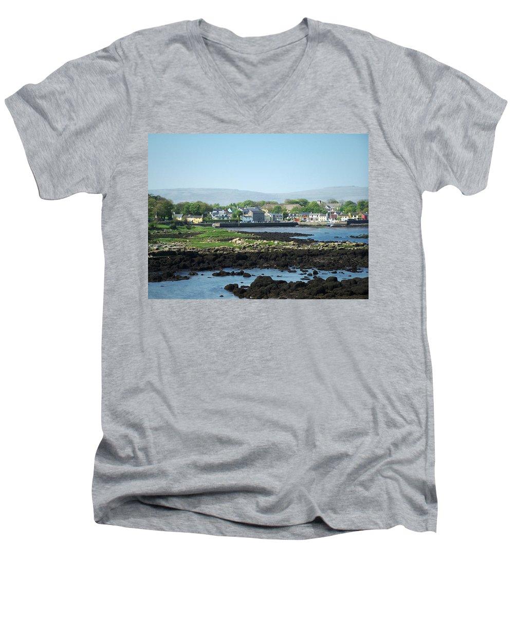 Irish Men's V-Neck T-Shirt featuring the photograph Kinvara Seaside Village Galway Ireland by Teresa Mucha