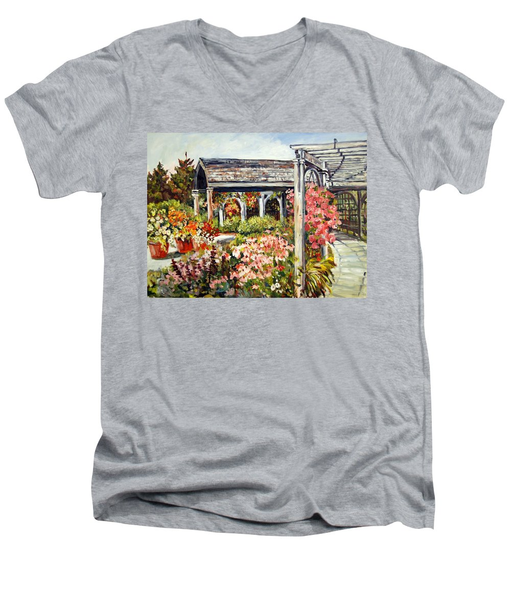 Landscape Men's V-Neck T-Shirt featuring the painting Klehm Arboretum I by Alexandra Maria Ethlyn Cheshire