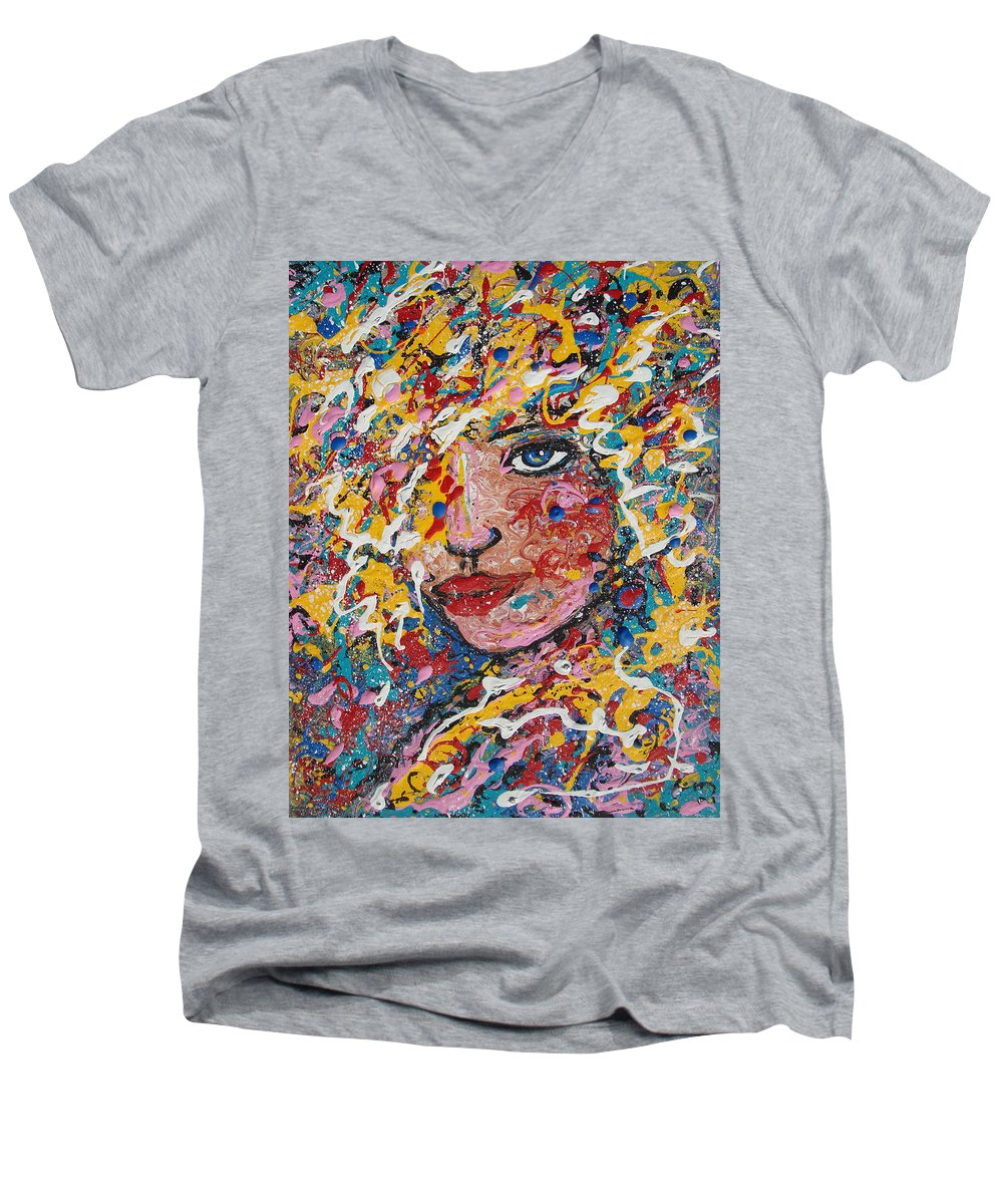 Woman Men's V-Neck T-Shirt featuring the painting Kuziana by Natalie Holland
