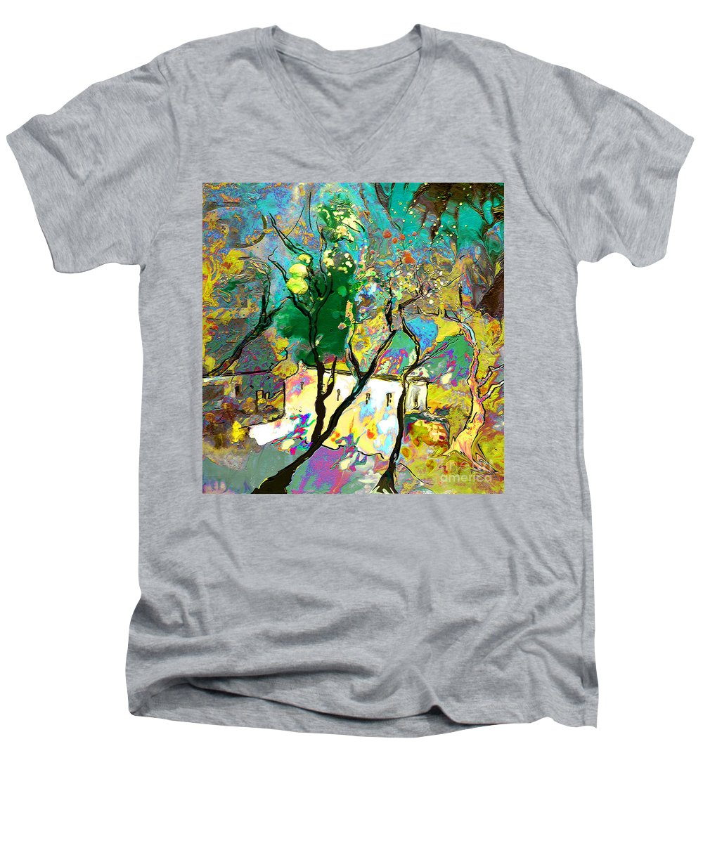 Miki Men's V-Neck T-Shirt featuring the painting La Provence 16 by Miki De Goodaboom