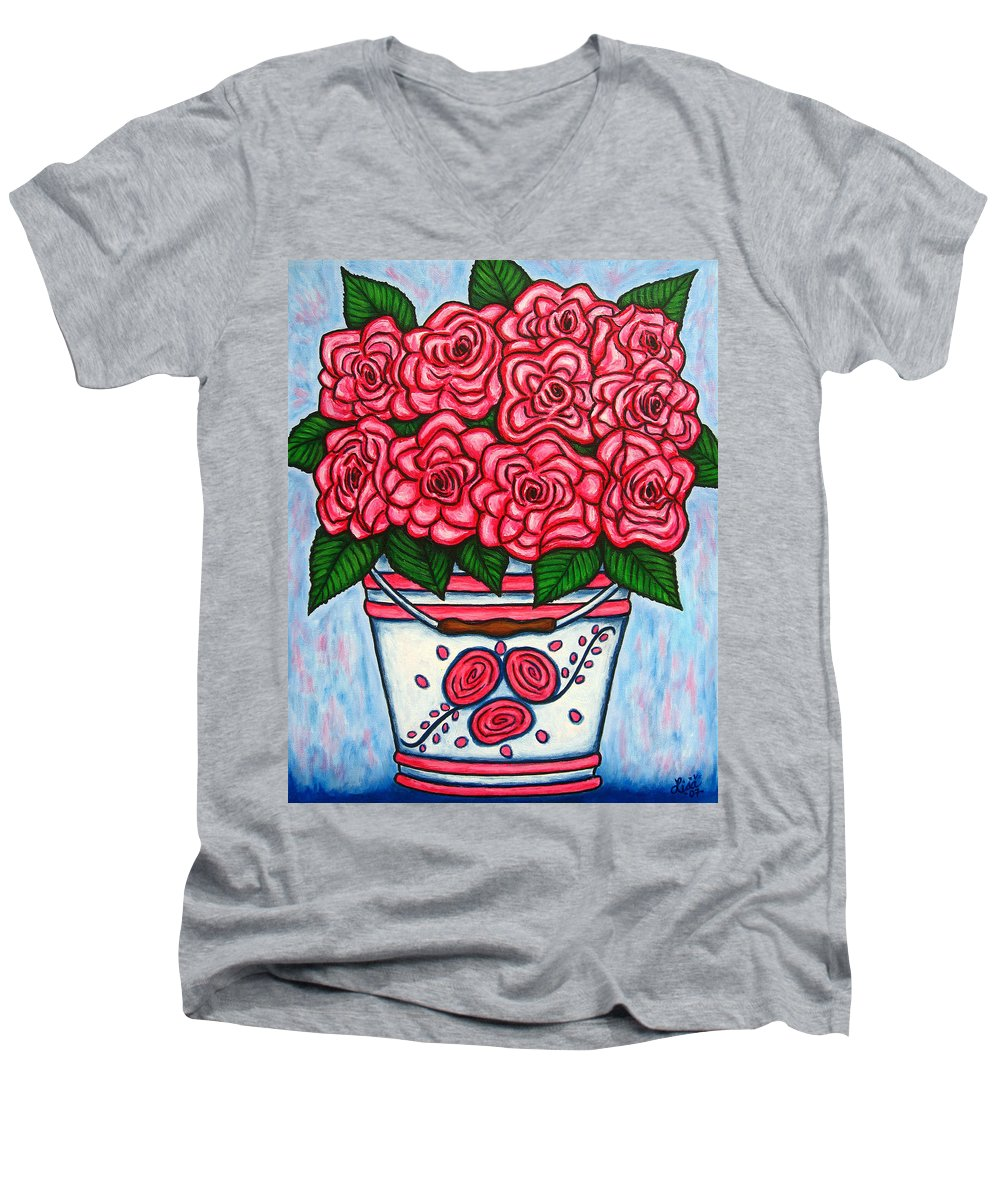 Rose Men's V-Neck T-Shirt featuring the painting La Vie En Rose by Lisa Lorenz