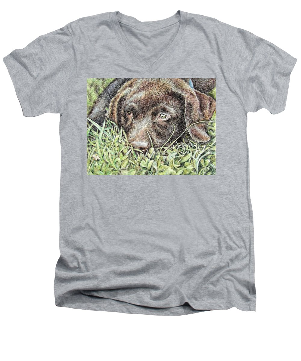 Dog Men's V-Neck T-Shirt featuring the pastel Labrador Puppy by Nicole Zeug