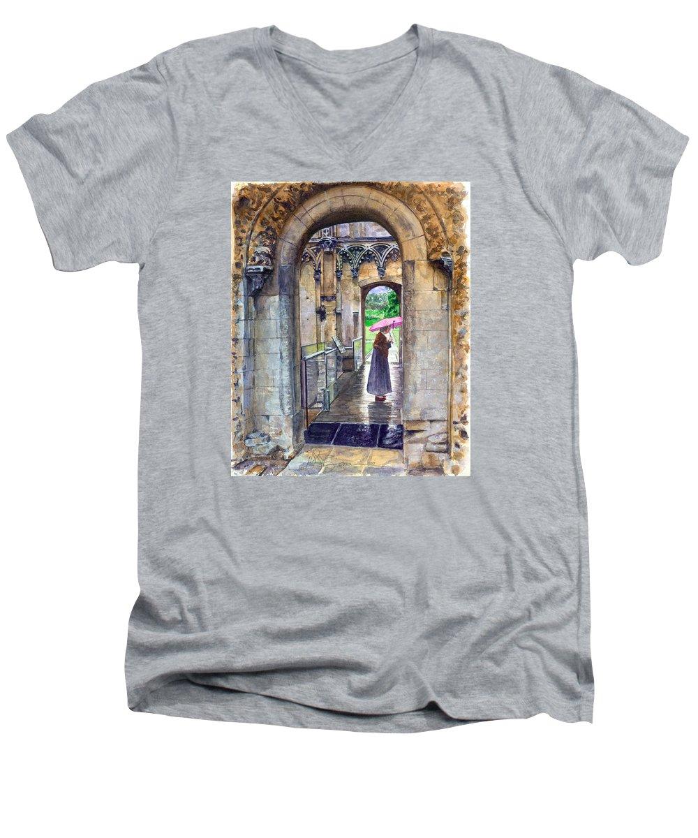 Glastonbury Men's V-Neck T-Shirt featuring the painting Lady Chapel by John D Benson