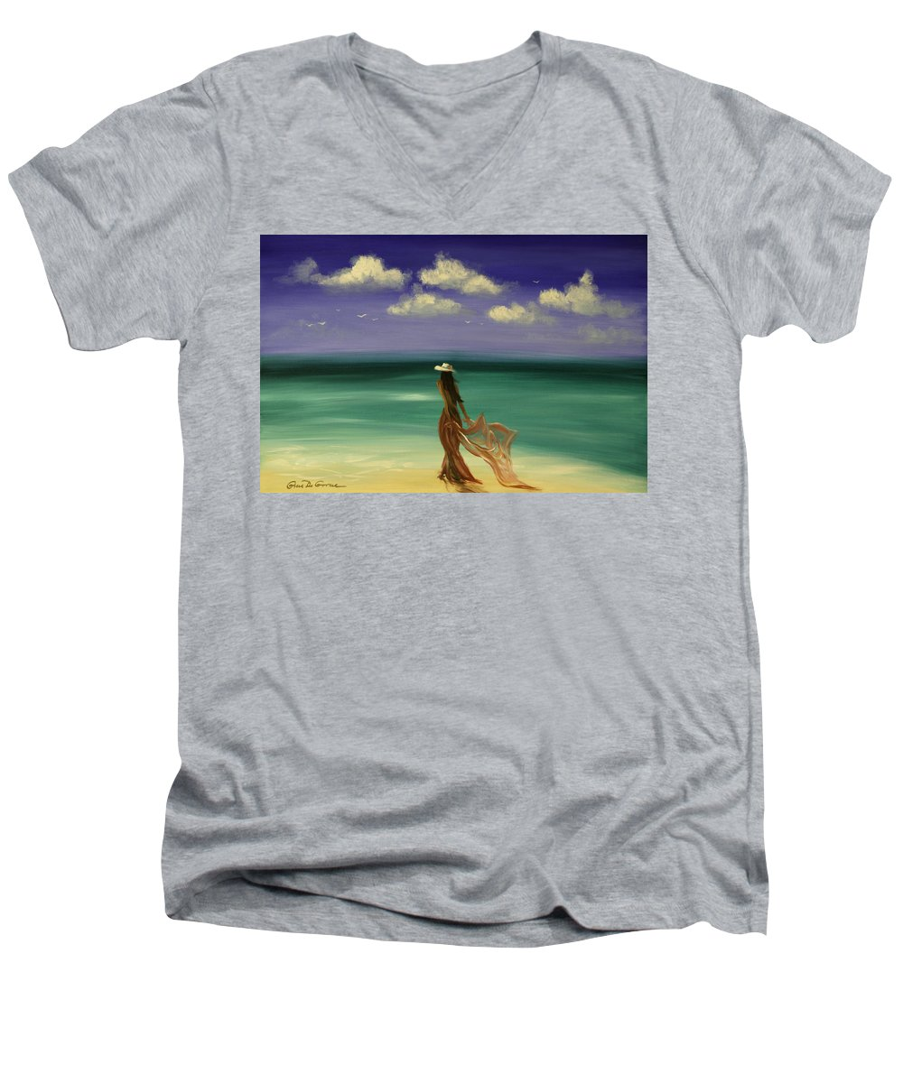 Nice Men's V-Neck T-Shirt featuring the painting Lady In Red by Gina De Gorna