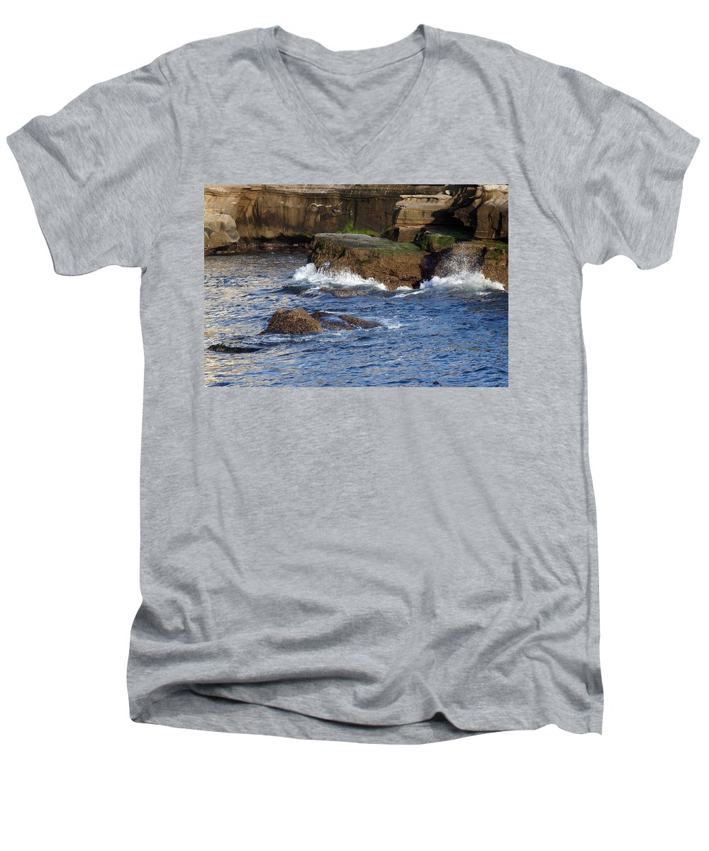 Ocean Men's V-Neck T-Shirt featuring the photograph Lajolla Rocks by Margie Wildblood