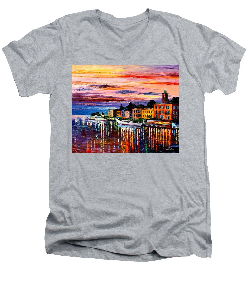 Cityscape Men's V-Neck T-Shirt featuring the painting Lake Como - Bellagio by Leonid Afremov