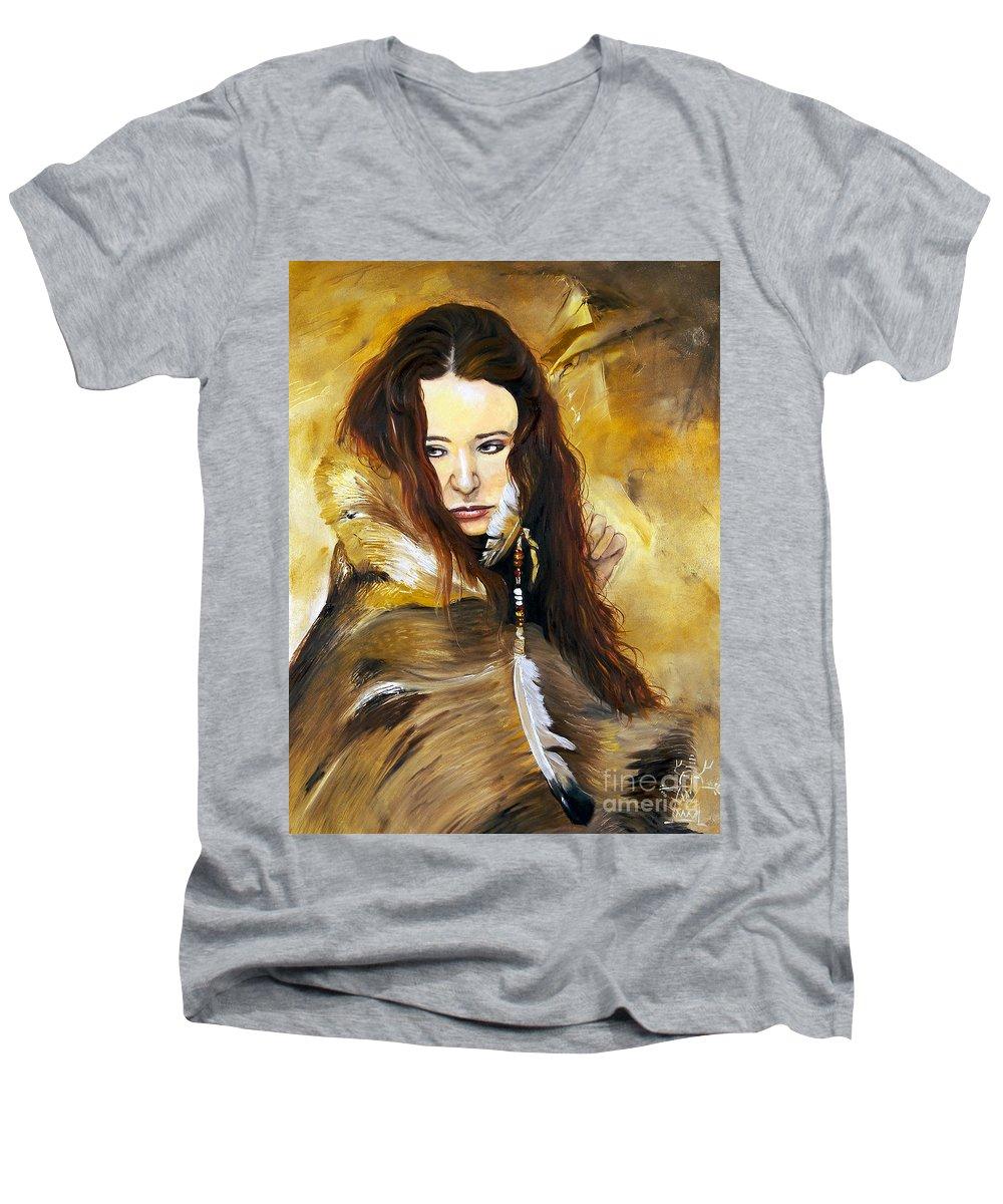 Southwest Art Men's V-Neck T-Shirt featuring the painting Lament by J W Baker