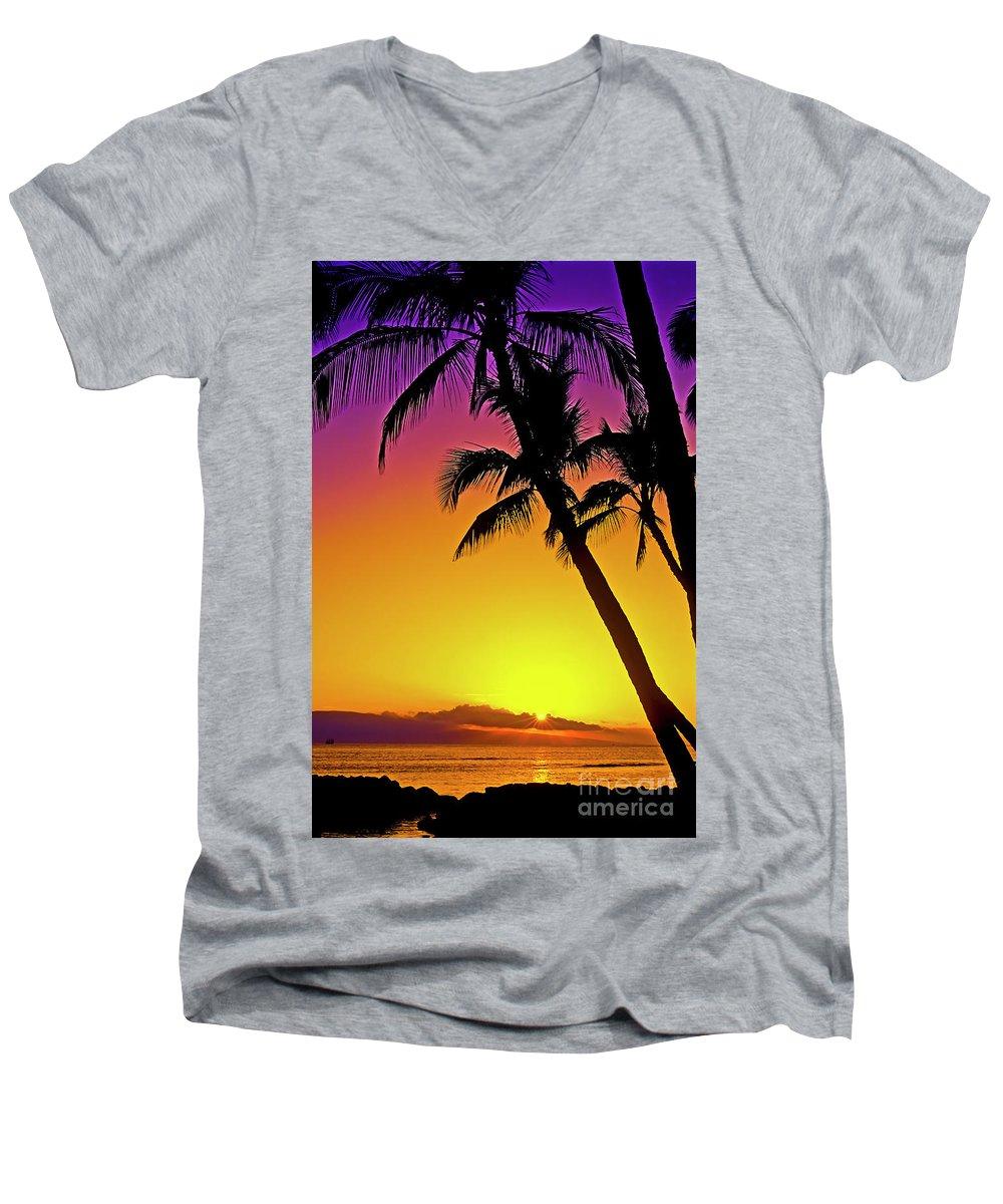 Sunset Men's V-Neck T-Shirt featuring the photograph Lanai Sunset II Maui Hawaii by Jim Cazel