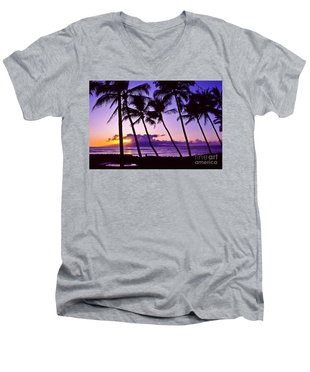 Landscapes Men's V-Neck T-Shirt featuring the photograph Lanai Sunset by Jim Cazel