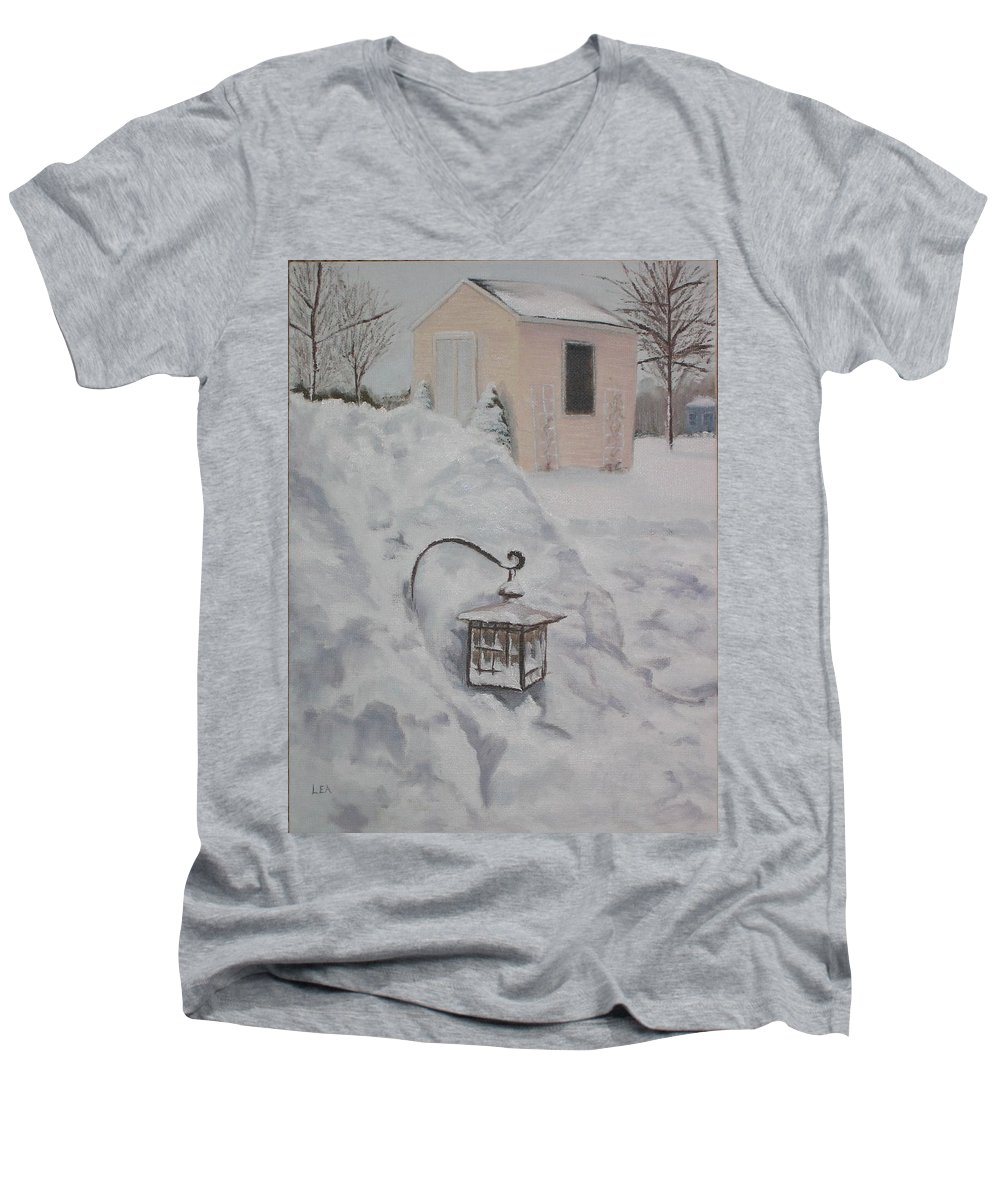 Snow Men's V-Neck T-Shirt featuring the painting Lantern In The Snow by Lea Novak