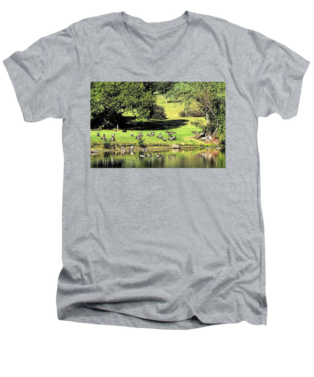 Bird Men's V-Neck T-Shirt featuring the photograph Last Days Of Summer by Gaby Swanson