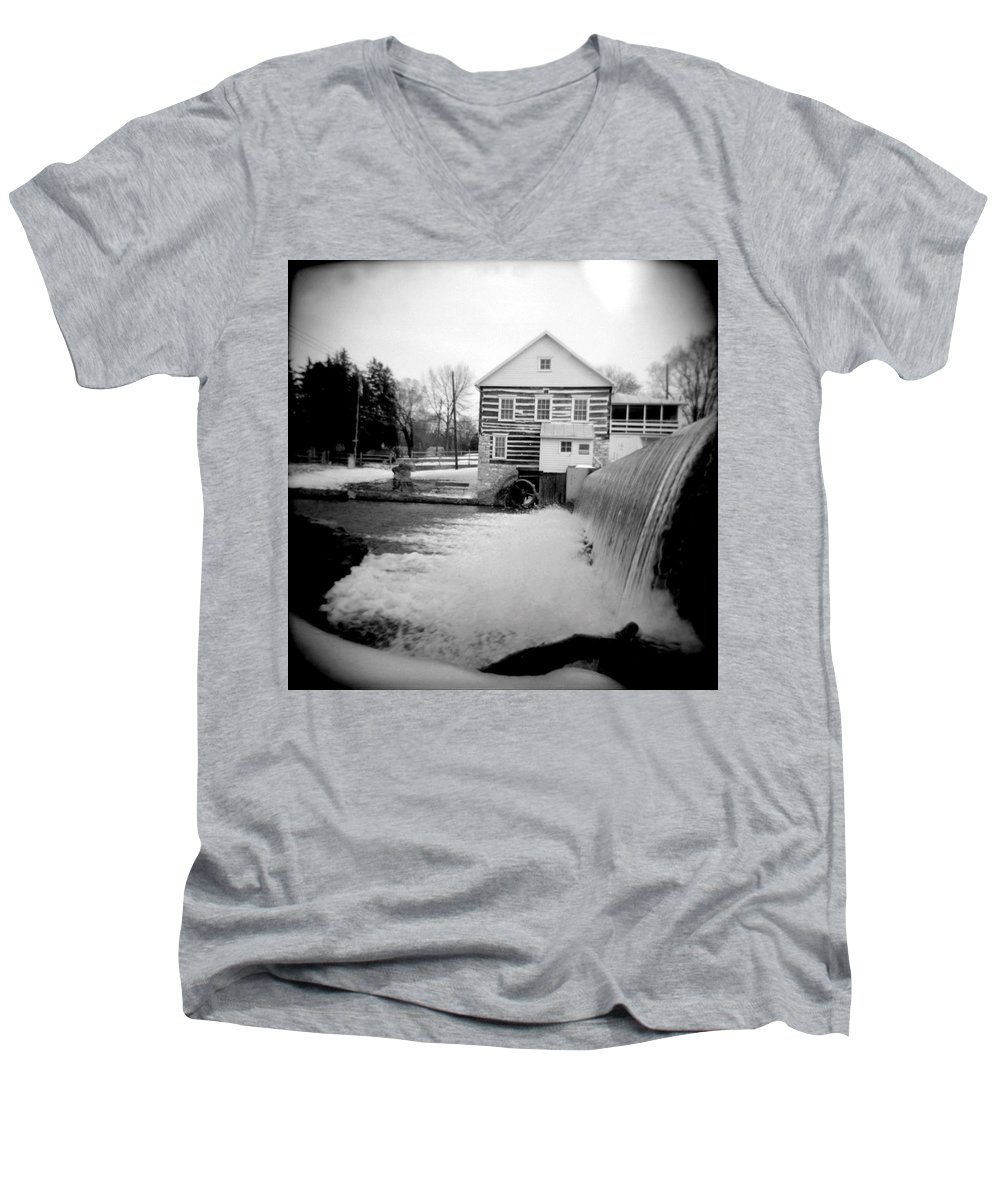 Photograph Men's V-Neck T-Shirt featuring the photograph Laughlin Mill by Jean Macaluso