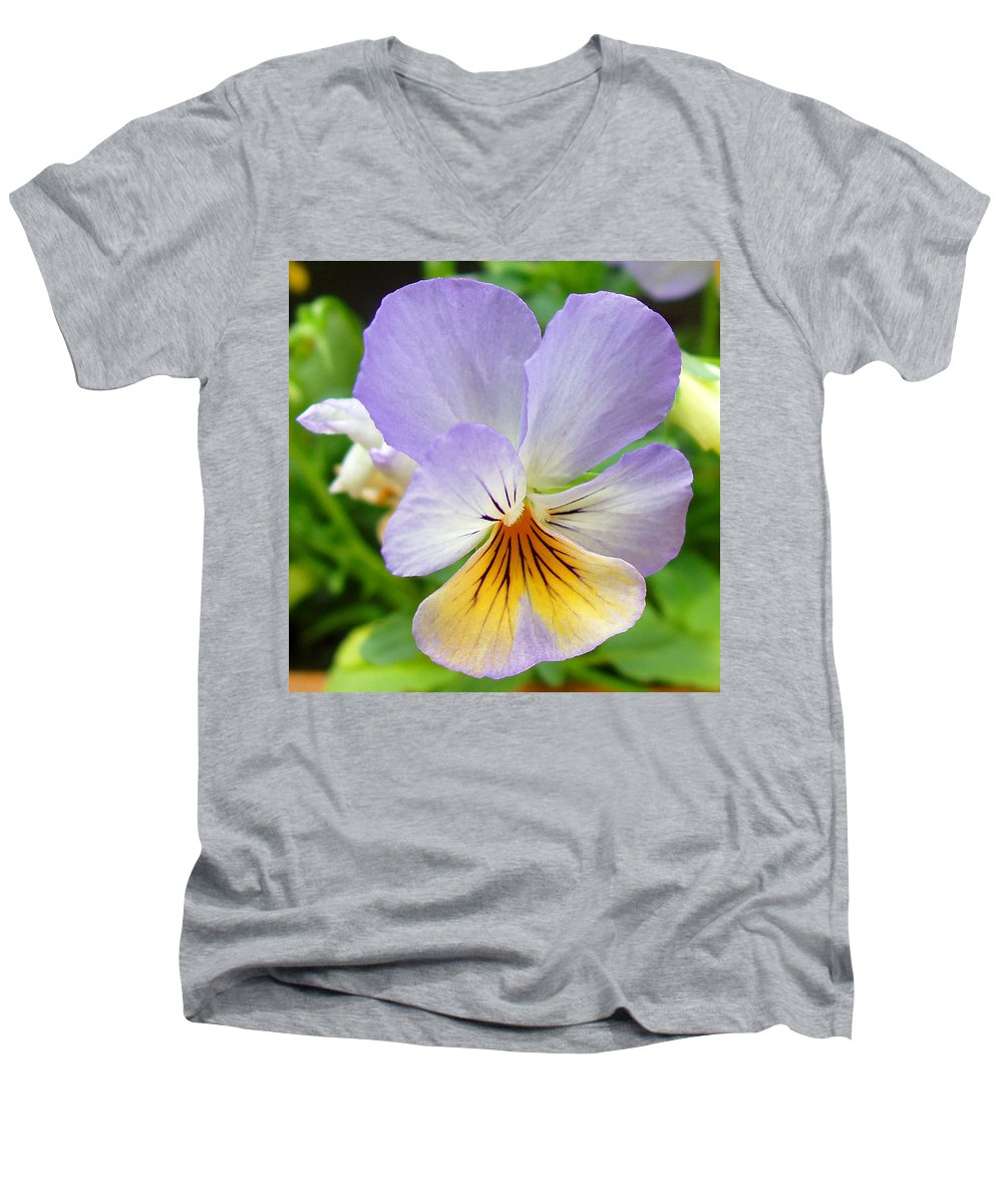 Pansy Men's V-Neck T-Shirt featuring the photograph Lavender Pansy by Nancy Mueller