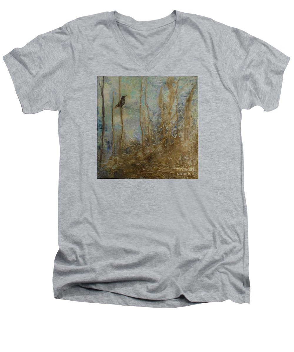 Bird Men's V-Neck T-Shirt featuring the painting Lawbird by Heather Hennick