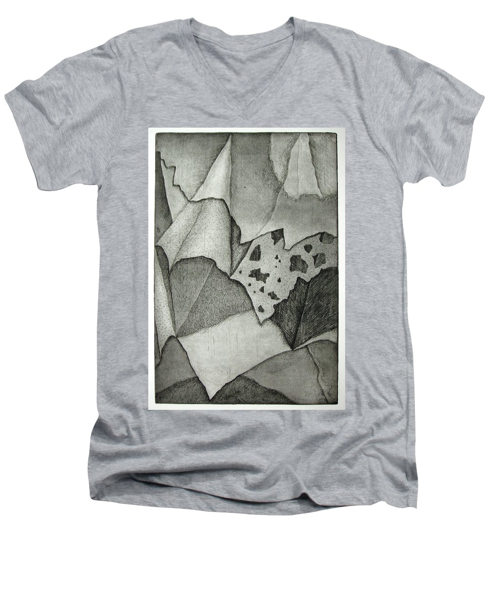 Etching Men's V-Neck T-Shirt featuring the drawing Layers by Nancy Mueller