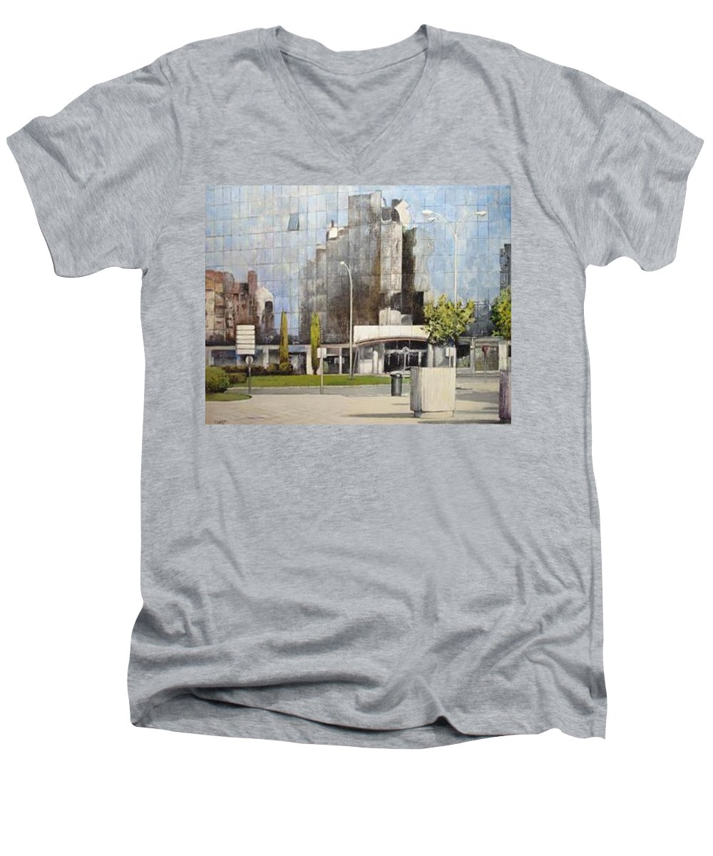 Leon Men's V-Neck T-Shirt featuring the painting Leon by Tomas Castano