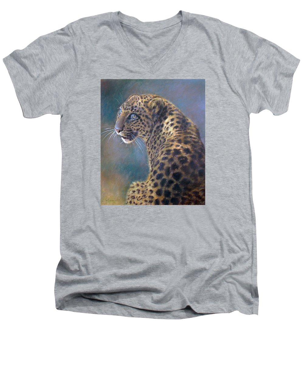 Cats Men's V-Neck T-Shirt featuring the painting Leopard by Iliyan Bozhanov