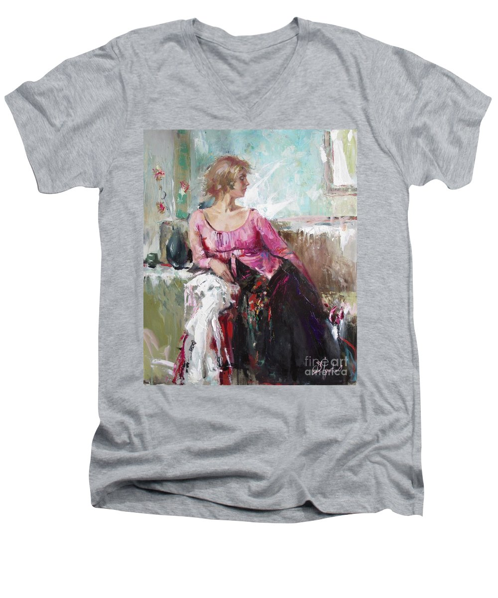 Ignatenko Men's V-Neck T-Shirt featuring the painting Lera by Sergey Ignatenko