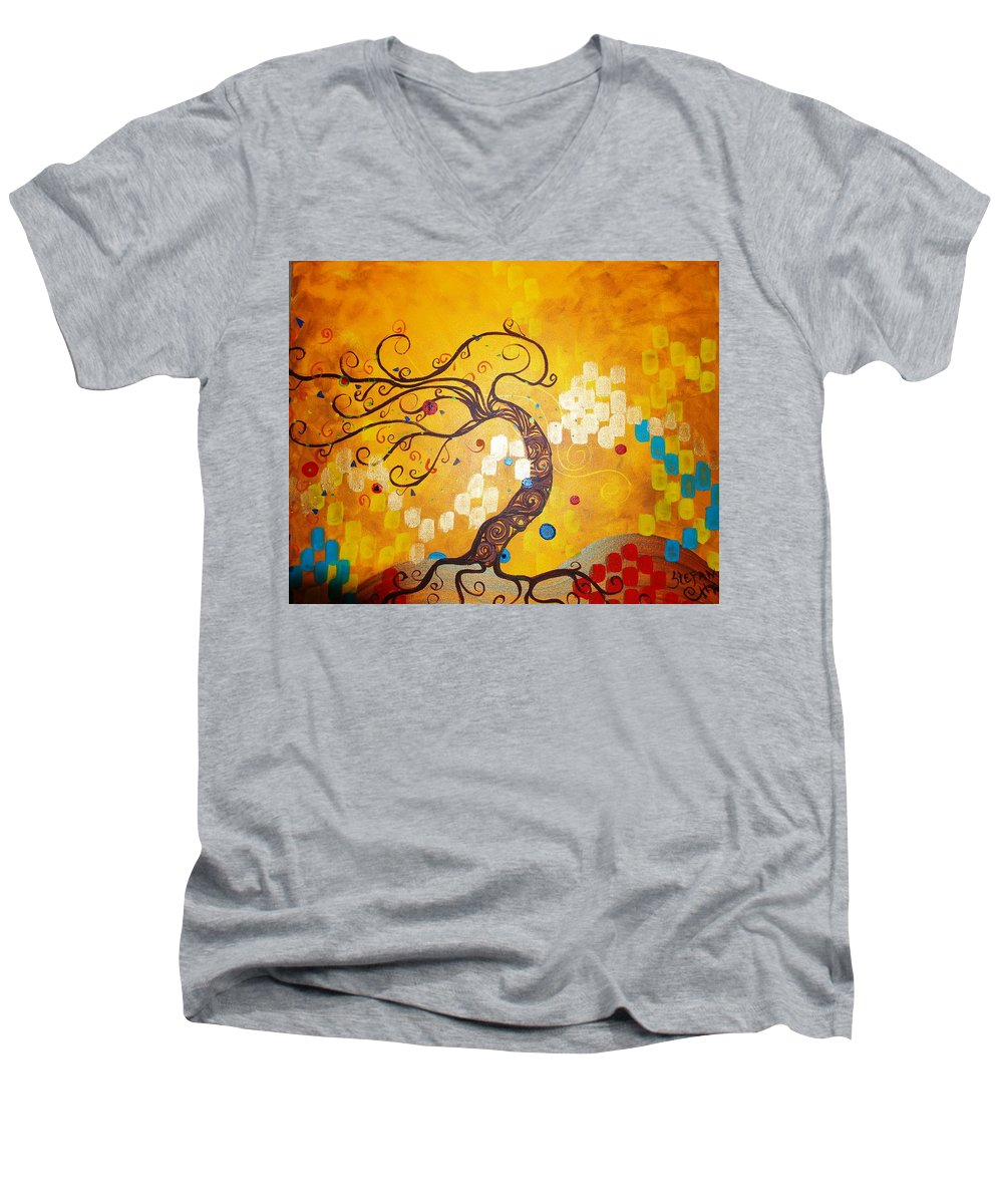 Men's V-Neck T-Shirt featuring the painting Life Is A Ball by Stefan Duncan