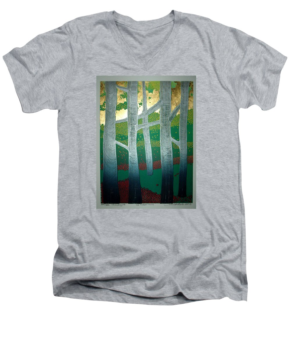 Landscape Men's V-Neck T-Shirt featuring the mixed media Light Between The Trees by Jarle Rosseland
