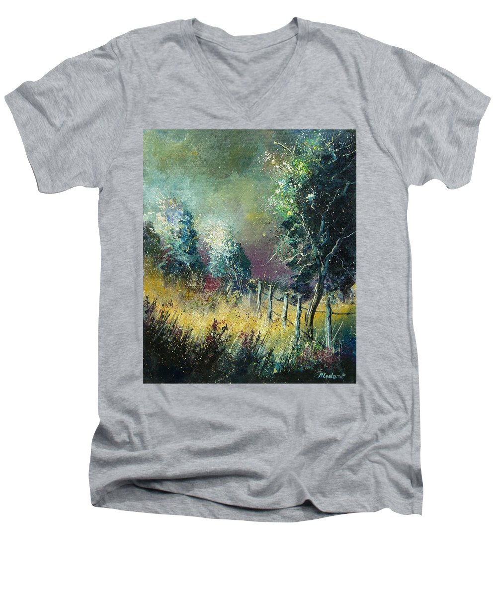 Landscape Men's V-Neck T-Shirt featuring the painting Light On Trees by Pol Ledent