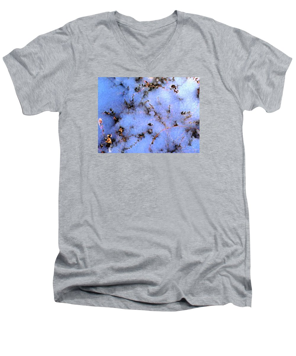 Abstract Men's V-Neck T-Shirt featuring the digital art Light Snow In The Woods by Dave Martsolf