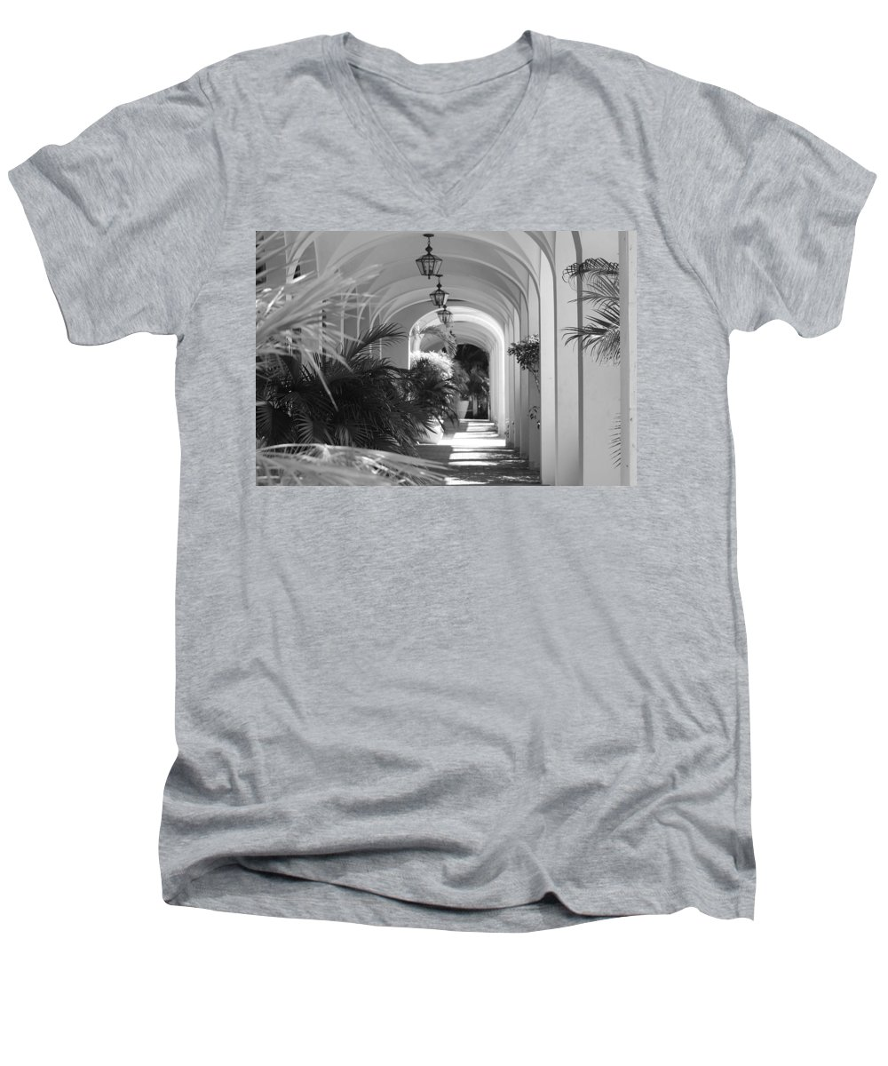 Architecture Men's V-Neck T-Shirt featuring the photograph Lighted Arches by Rob Hans