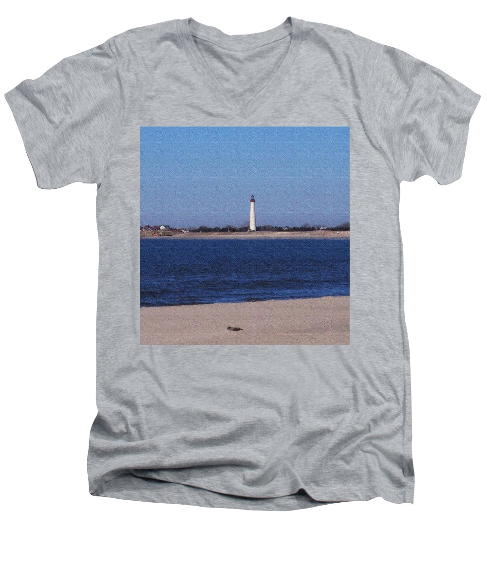 Lighthouse Men's V-Neck T-Shirt featuring the photograph Lighthouse At The Point by Pharris Art