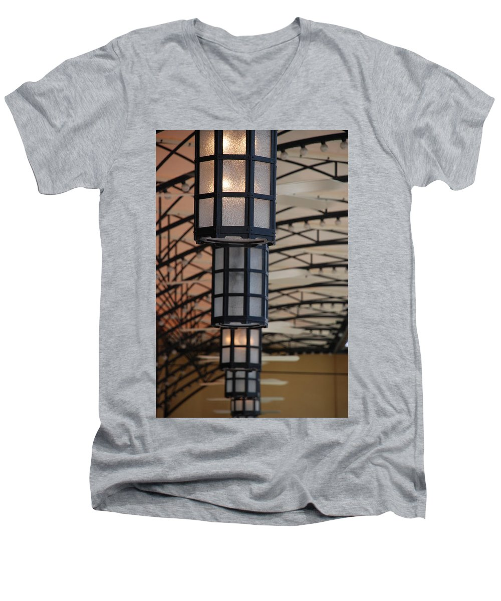 Architecture Men's V-Neck T-Shirt featuring the photograph Lights At City Place by Rob Hans
