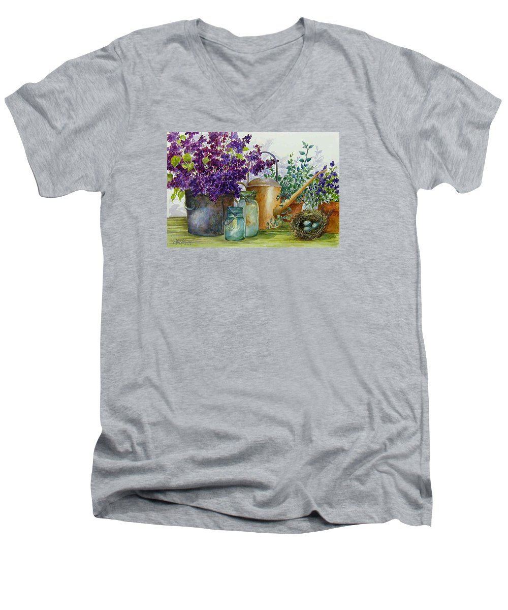 Still Life;lilacs; Ball Jars; Watering Can;bird Nest; Bird Eggs; Men's V-Neck T-Shirt featuring the painting Lilacs And Ball Jars by Lois Mountz