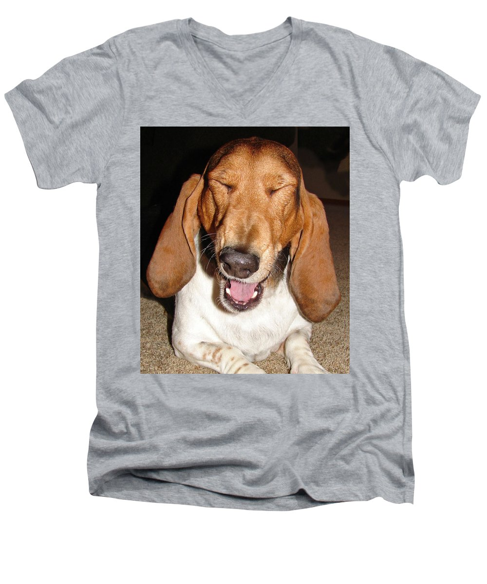 Basset Hound Men's V-Neck T-Shirt featuring the photograph Lillard by Heather Coen