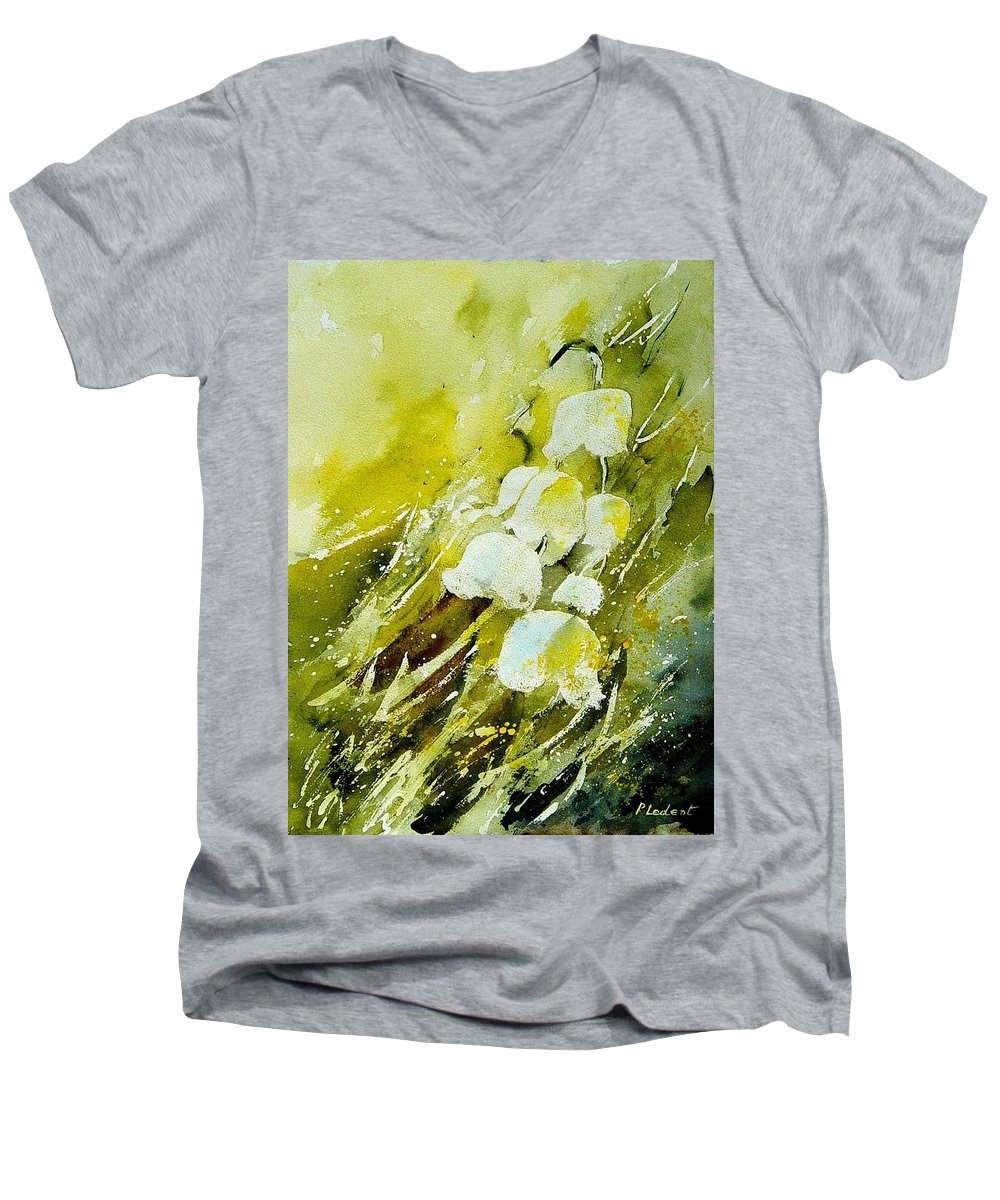 Flowers Men's V-Neck T-Shirt featuring the painting Lilly Of The Valley by Pol Ledent