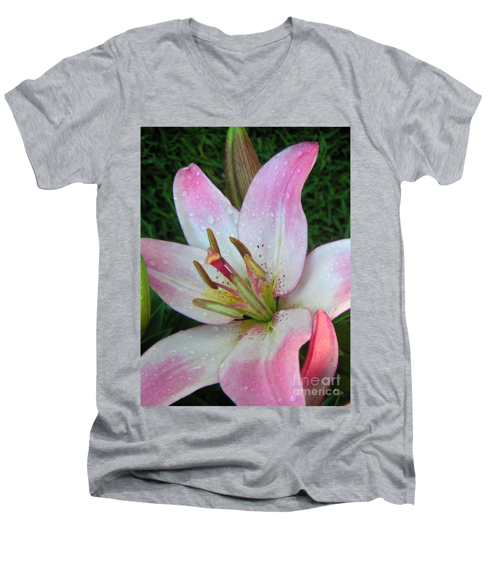 Nature Men's V-Neck T-Shirt featuring the photograph Lily Singled Out by Lucyna A M Green