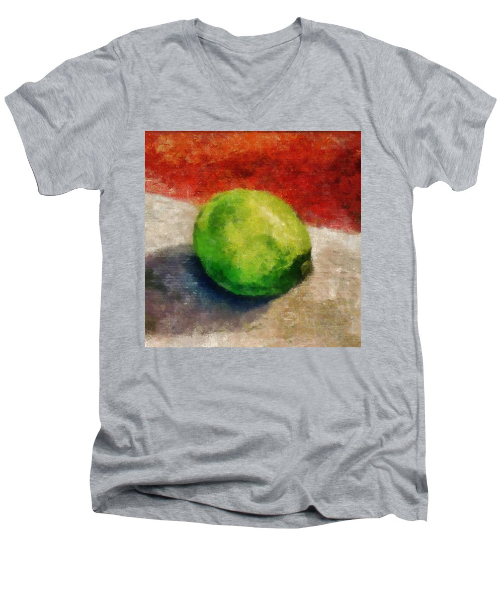 Lime Men's V-Neck T-Shirt featuring the painting Lime Still Life by Michelle Calkins