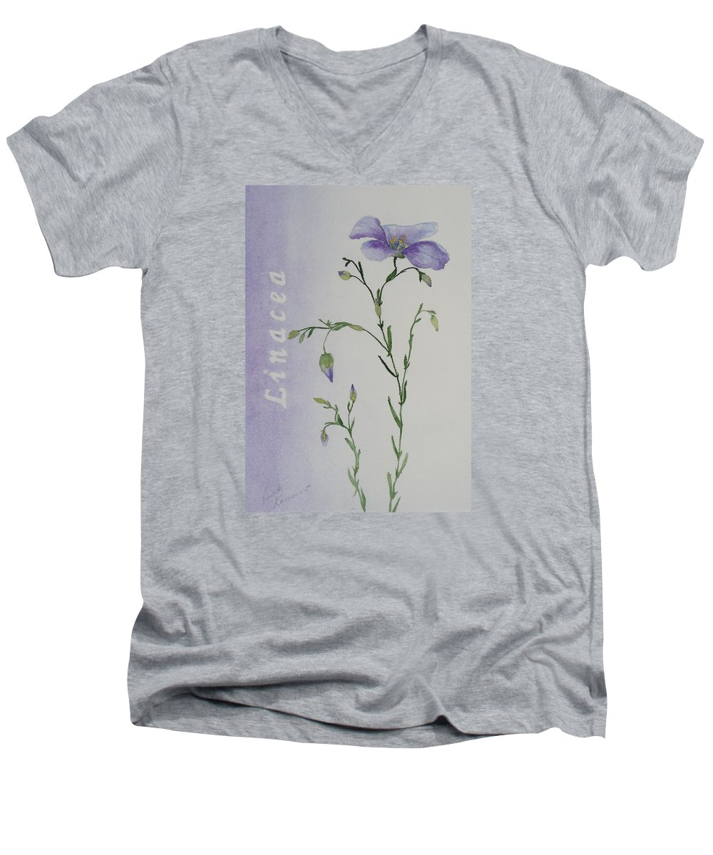 Flower Men's V-Neck T-Shirt featuring the painting Linacea by Ruth Kamenev