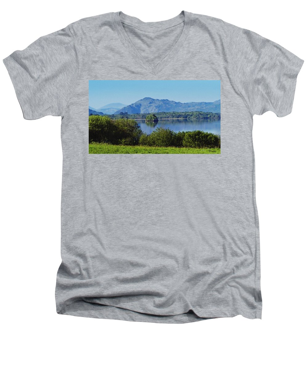 Irish Men's V-Neck T-Shirt featuring the painting Loch Leanne Painting Killarney Ireland by Teresa Mucha