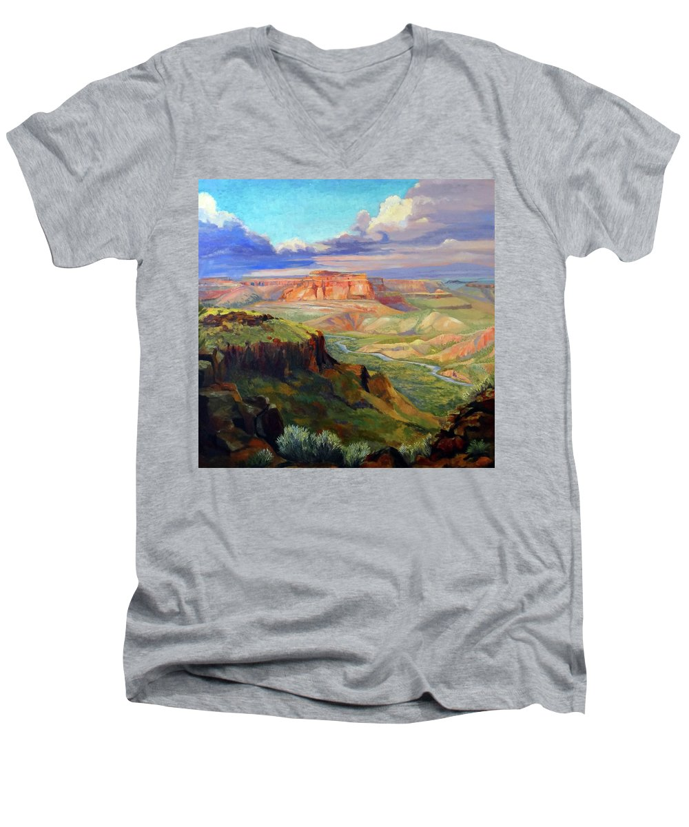 Landscape Men's V-Neck T-Shirt featuring the painting Look Out At White Rock by Nancy Paris Pruden