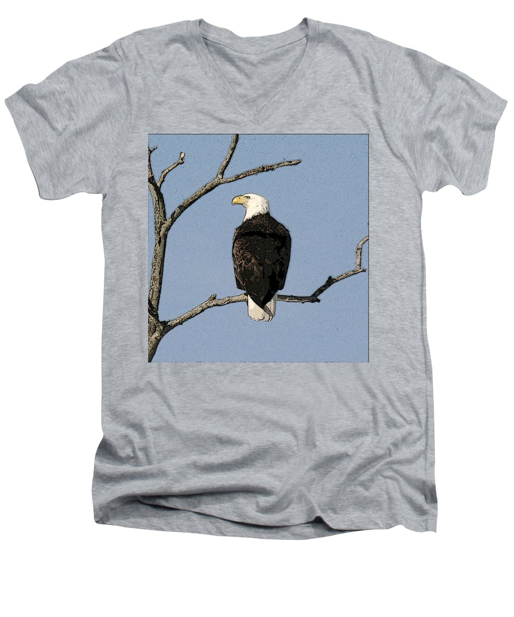 Eagle Men's V-Neck T-Shirt featuring the photograph Look Out by Robert Pearson