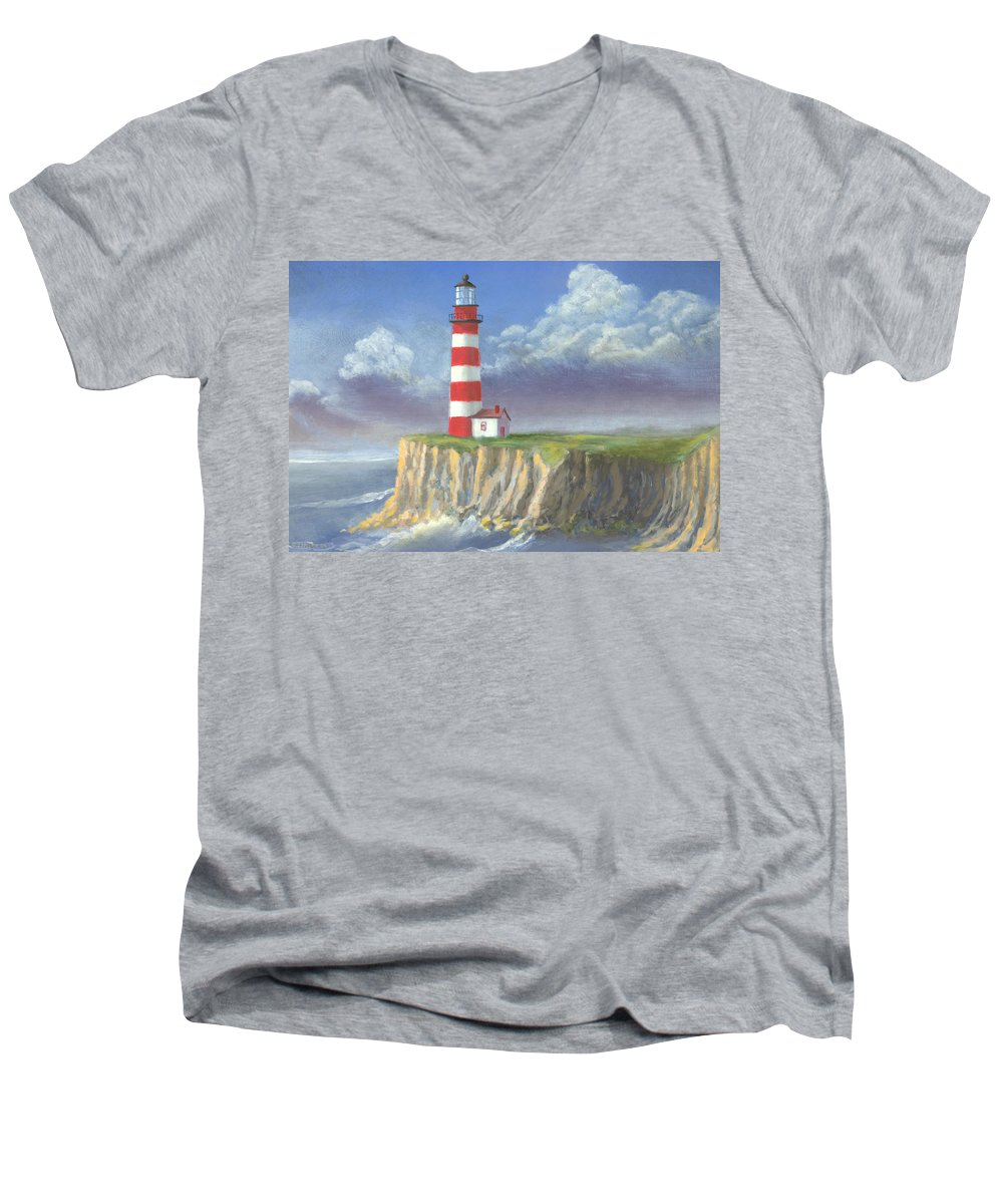 Light Men's V-Neck T-Shirt featuring the painting Lost Point Light by Jerry McElroy