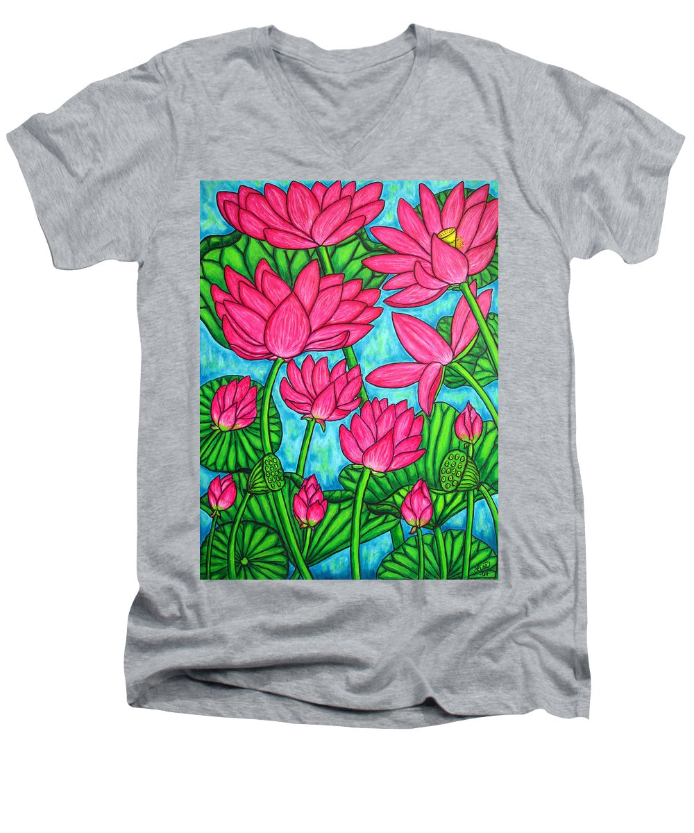 Men's V-Neck T-Shirt featuring the painting Lotus Bliss by Lisa Lorenz