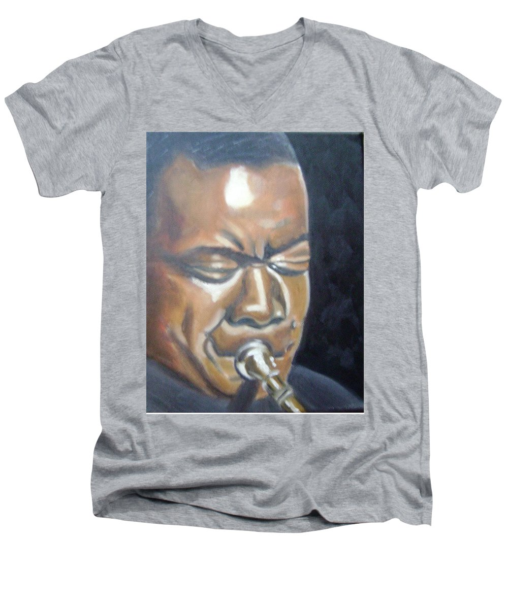 Louis Armstrong Men's V-Neck T-Shirt featuring the painting Louis Armstrong by Toni Berry