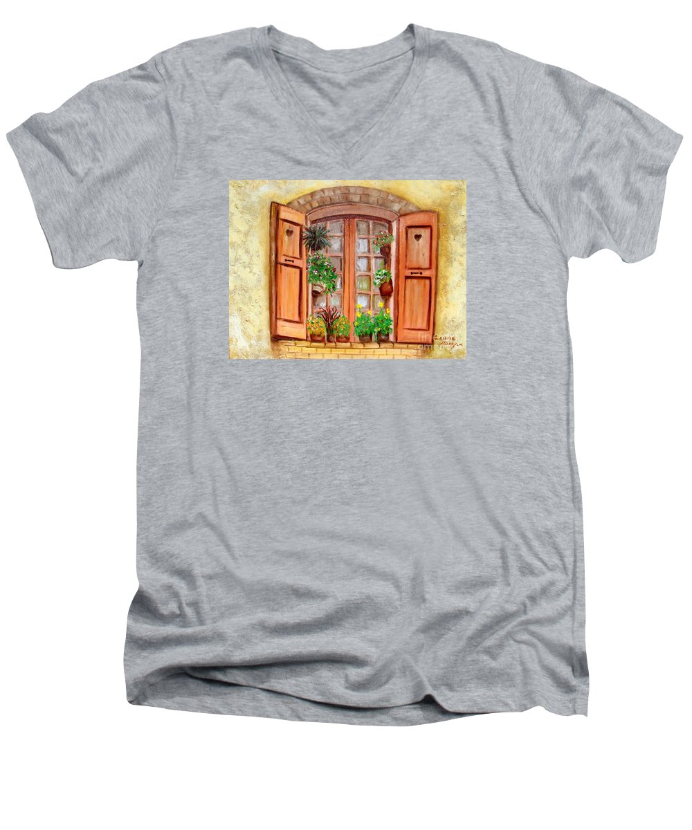 Windows Men's V-Neck T-Shirt featuring the painting Love Nest by Laurie Morgan