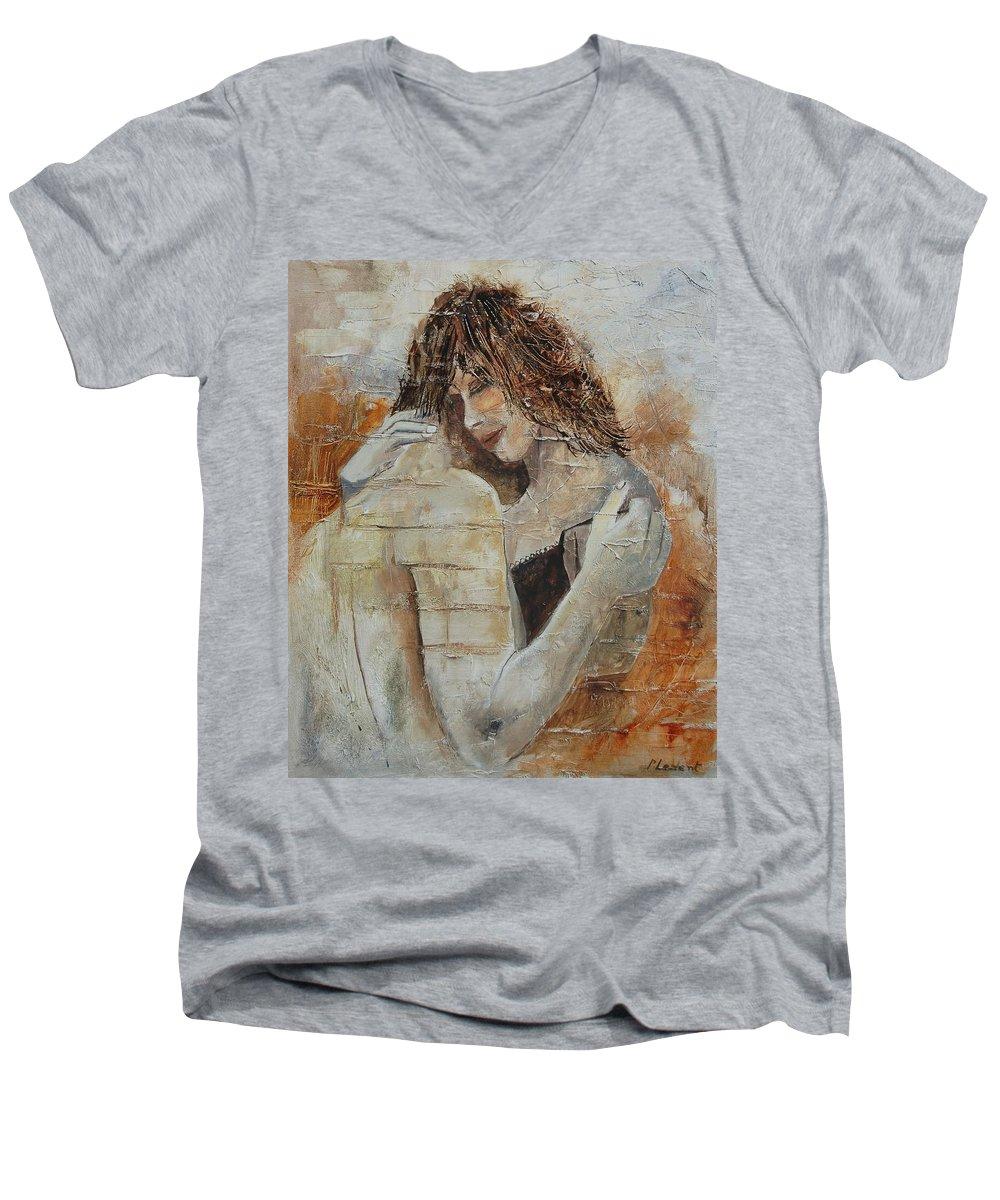 Girl Men's V-Neck T-Shirt featuring the painting Loving Couple by Pol Ledent