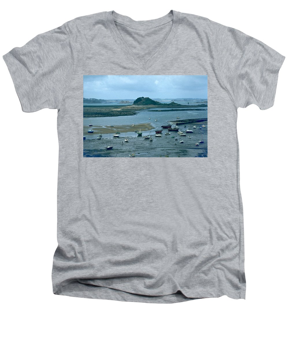 Low Tide Men's V-Neck T-Shirt featuring the photograph Low Tide by Flavia Westerwelle