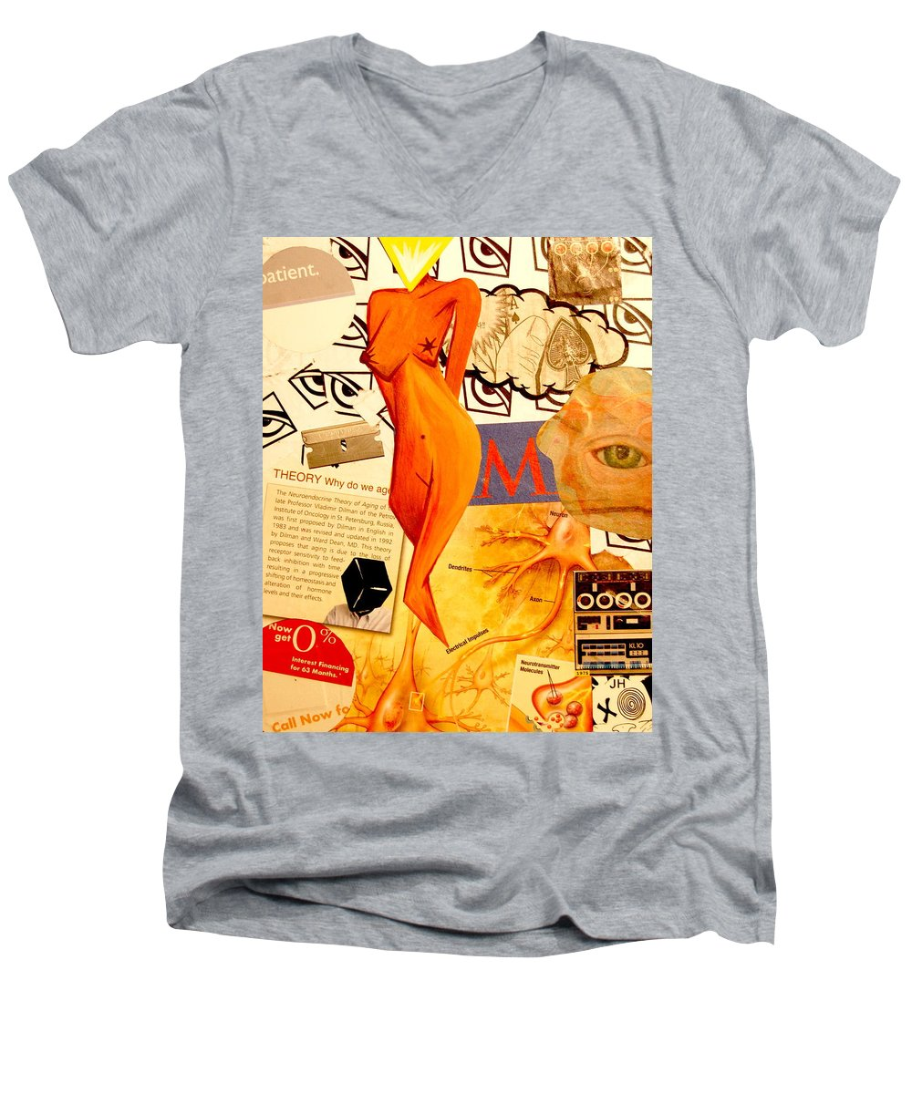 Luck Men's V-Neck T-Shirt featuring the mixed media Luck Of The Draw by A 2 H D