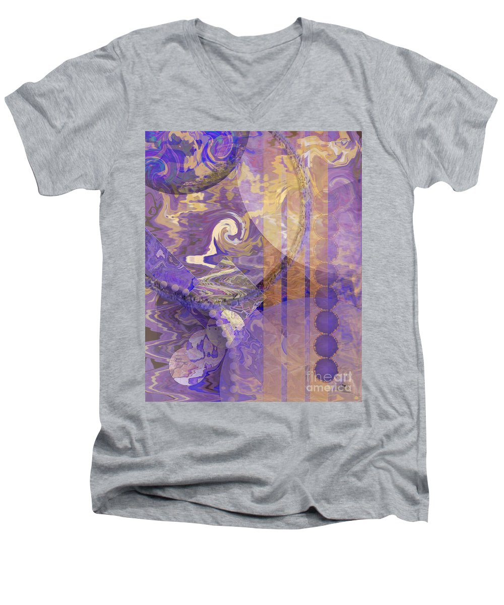 Lunar Impressions Men's V-Neck T-Shirt featuring the digital art Lunar Impressions by John Beck